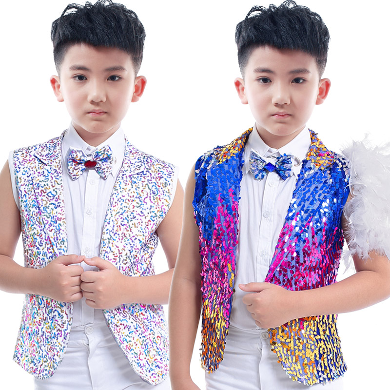 boys jazz dance costumes clothing childrens chorus singer host Korean pupils vest Sequin vest beads embroidery