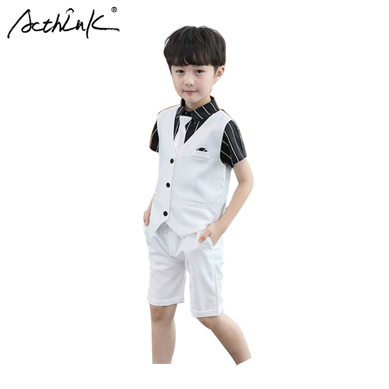 ActhInK 2019 New Design 3Pcs Boys Vest Suit England Style Waistcoat Summer Wedding Suits With Tie