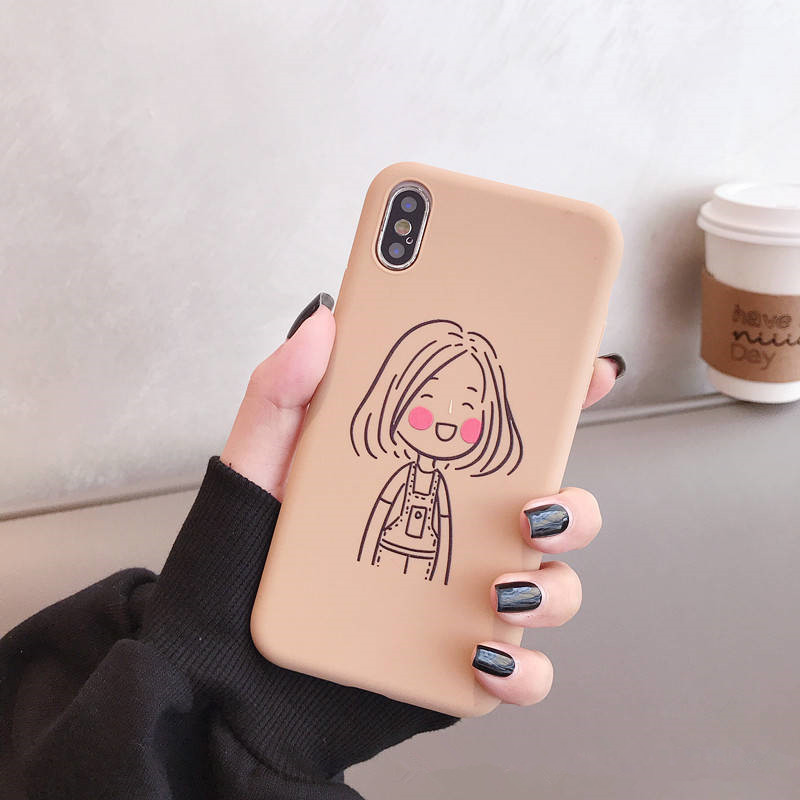 Illustration Doodle Boys For Iphone 6 6S 7 8plus X Xs Xr Xsmax Thick Tpu Couples Anti Fall Soft Shell in Fitted Cases from Cellphones Telecommunications