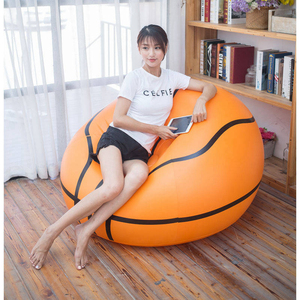 Image 1 - Inflatable Basketball Bean Bag Chair Soccer Ball Air Sofa Indoor Living Room PVC Lounger for Adult Kids Outdoor Lounge Armchair