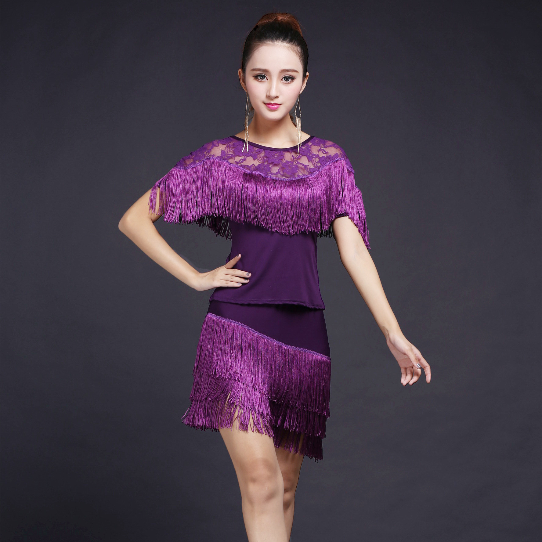 Latin Dance Dress for Women Adult Girls Practice Suit Fringed Skirt Cha Cha  Dance Cloth Competition 4e52ea5a3873