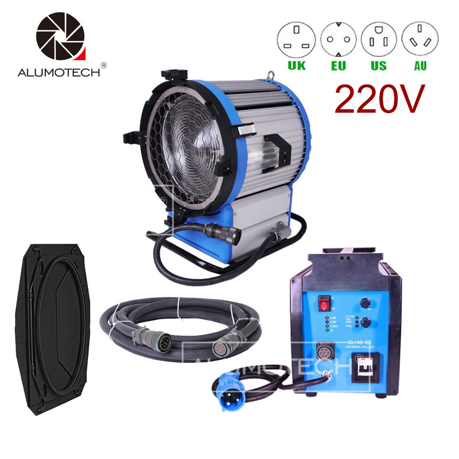 ALUMOTECH Pro HMI 2500W 220~250V Fresnel Light Daylight Compact 2.5/4KW Ballast + Cable Video Camera