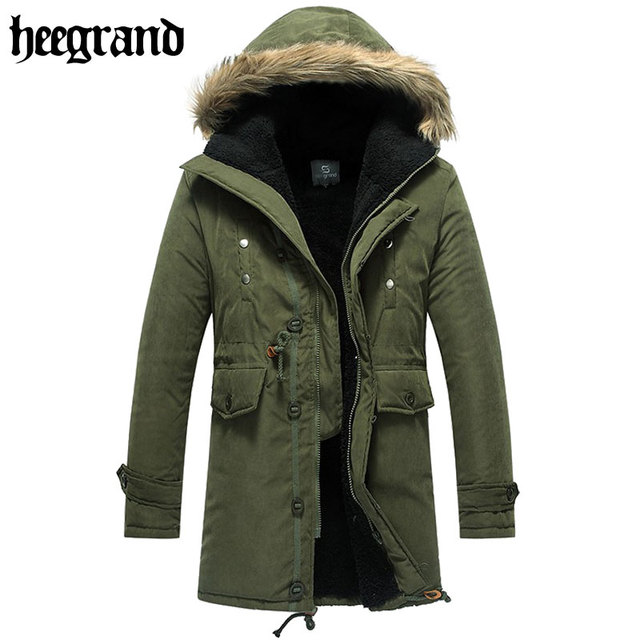 HEE GRAND 2017 New Military Army Style Solid Winter Padded Parka Jackets Fashion Warm Tooling Thick Overcoat MWM060