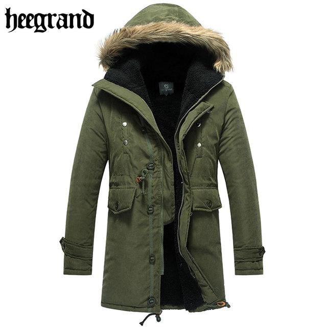 Hee grand 2017 novo estilo militar do exército ferramental sólida inverno acolchoado parka casacos moda quente casaco grosso mwm060