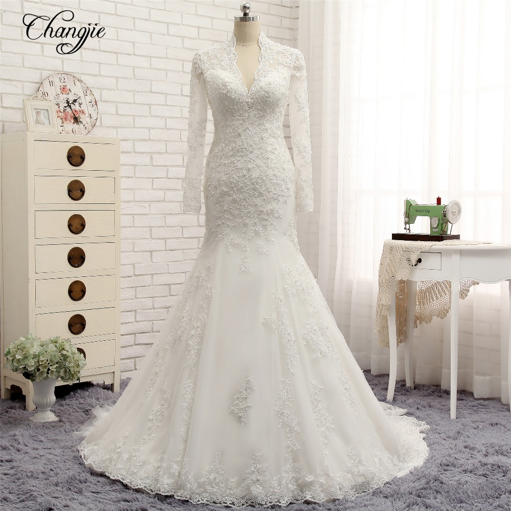 New Long Sleeves Wedding Dress 2018 New Application Tulle Court Train Mermaid Bridal Gowns Button Back