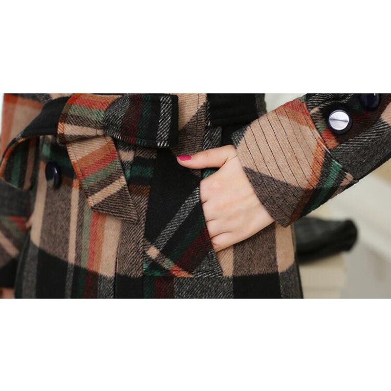 Laine D'âge orange Moyen Double Plaid Automne Section Manteau breasted Slim Longue Blue Odfvebx Taille Hiver Femmes De Mince Grande Cachemire HEE4wAqxZ6