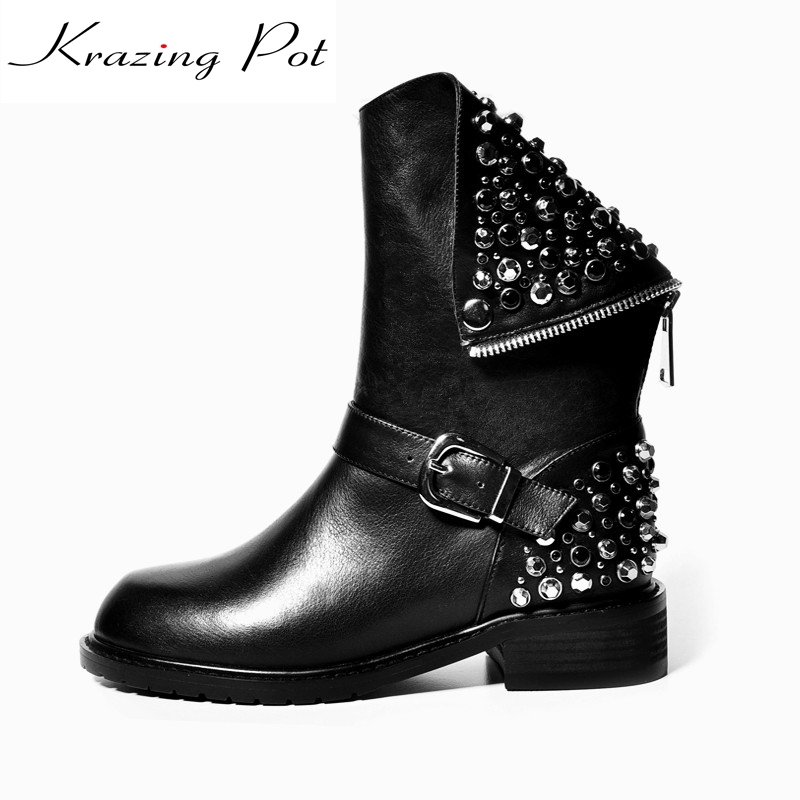 Krazing Pot genuine leather rivet crystal decoration beading round toe winter boots low heel European luxury mild calf boots L00