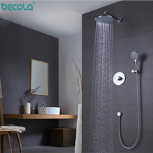 цена на BECOLA High Quality Bathroom Wall Mounted 8 Rain Shower Head Valve Mixer Tap W/ Hand Shower Rainfall Shower Mixer Faucet Set