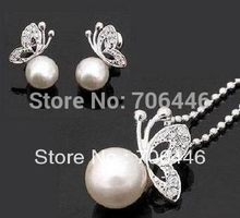 Silver Plated Cream Faux Pearl Butterfly Pendant Necklace and Earrings sets(China)
