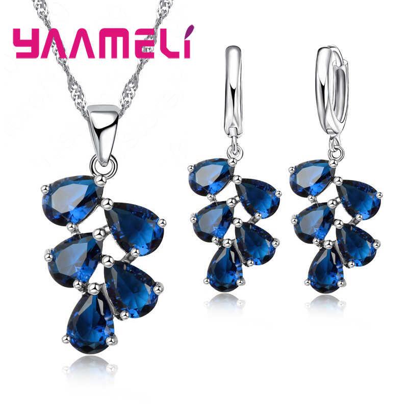 Jahrestag Geschenk Für Frauen Trendy 925 Sterling Silber Schmuck Sets Zirkonia Anhänger Halsketten Charme Hoop Ohrringe