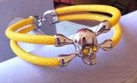 BC Luxury Silver Skull Bracelet Handmade Stingray Leather Bracelets Men Stingray Skull Bracelet Has Gift Box