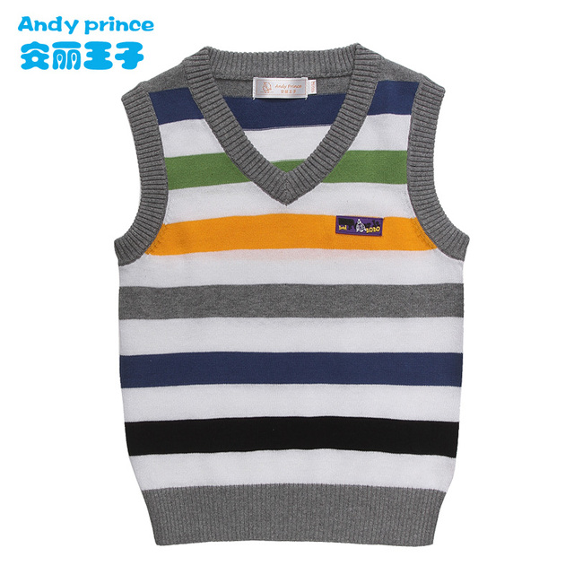2014 children's clothing fashion preppy style boy vest 100% cotton sweater vest child sweater spring school college