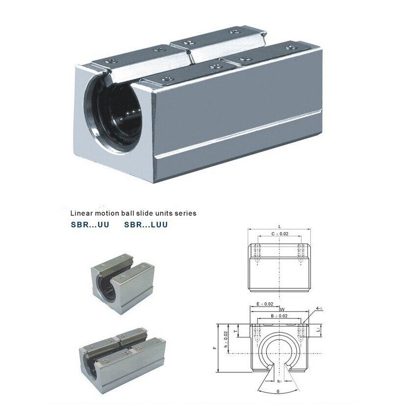 Free shipping SBR16LUU SBR16L 16mm linear ball bearing slide unit 16 mm linear bearing block for SBR16 linear guide abrasives apply linear guide bearing fzh19x50x3 non standard custom
