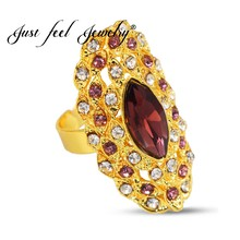 JUST FEEL Zircon Ethiopian Big Ring Gold Color for Women Trendy African/Arabian/Middle East Jewelry Charm Party Bague femme(China)