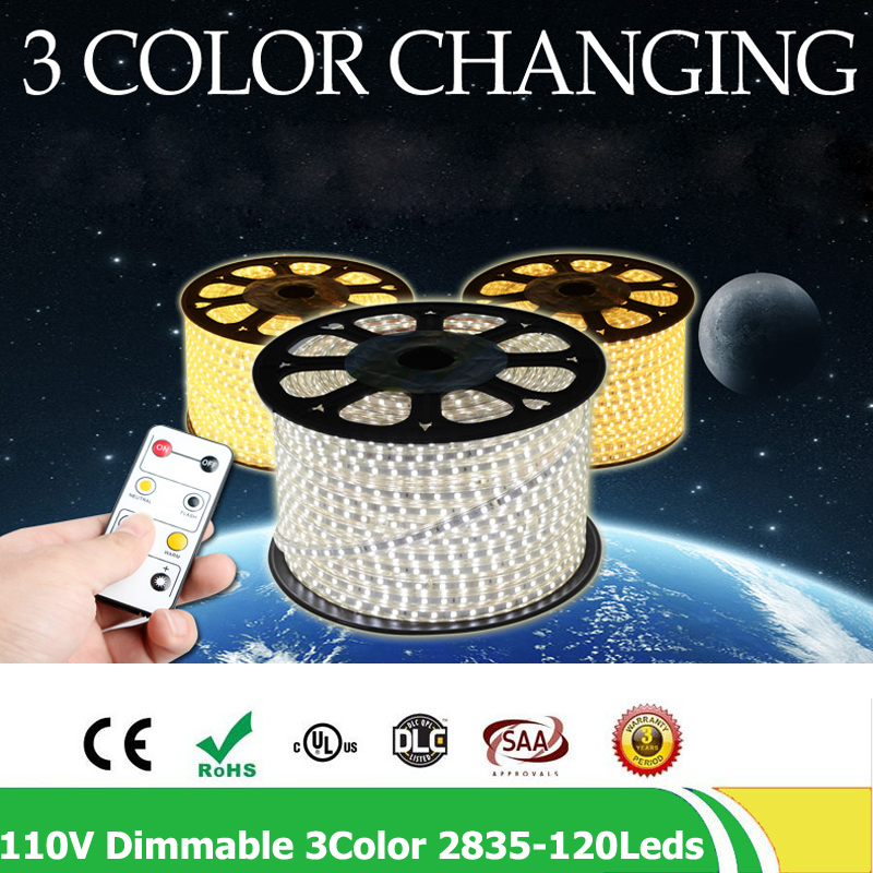 20m/lot Dimmable LED strip SMD 2835 120leds/m AC110V flexible light tiras led tape waterproof ip67 with controller