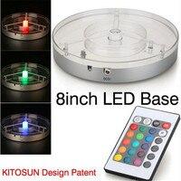 3pcs/Lot Battery Powered Multicolors LED Under Vase Lighting Silver Plastic Light Base for Shisha/ Hookah/ Crystal