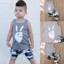 Summer New Kids Boys Clothes Set Cute Baby Boy Cotton Vest Camo Shorts Children Fashion Casual Clothes Outfit