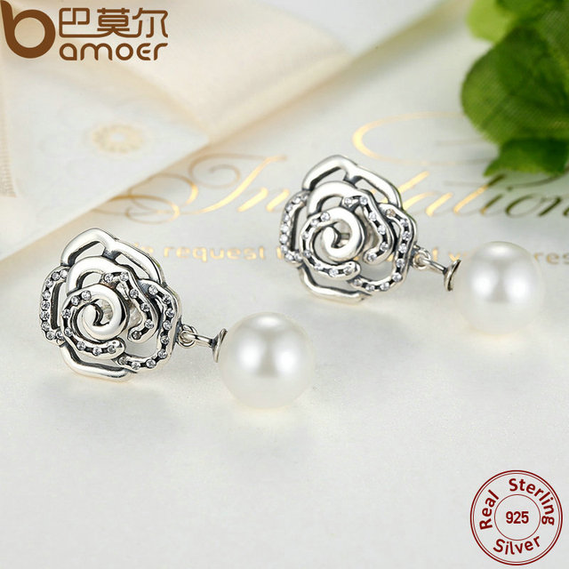 Sterling Silver Rose and Pearl Female Earrings