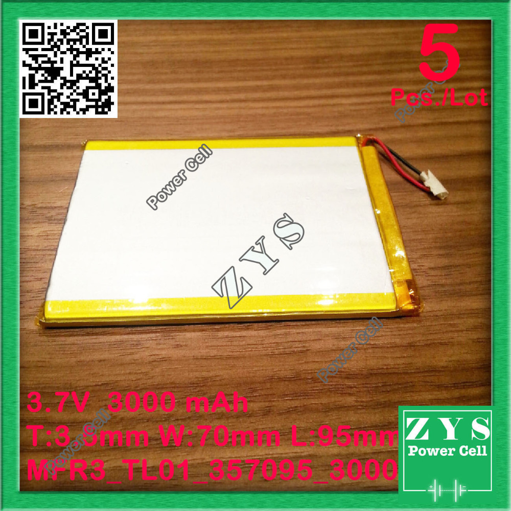 5pcs/Lot Two wire battery.3.7V 3000mah (polymer lithium ion battery) Li-ion battery for tablet pc 7 inch MP3 MP4 [357095] 307095 two wire taipower a11 battery taipower a11 dual core tablet computer special built in battery 3 7v