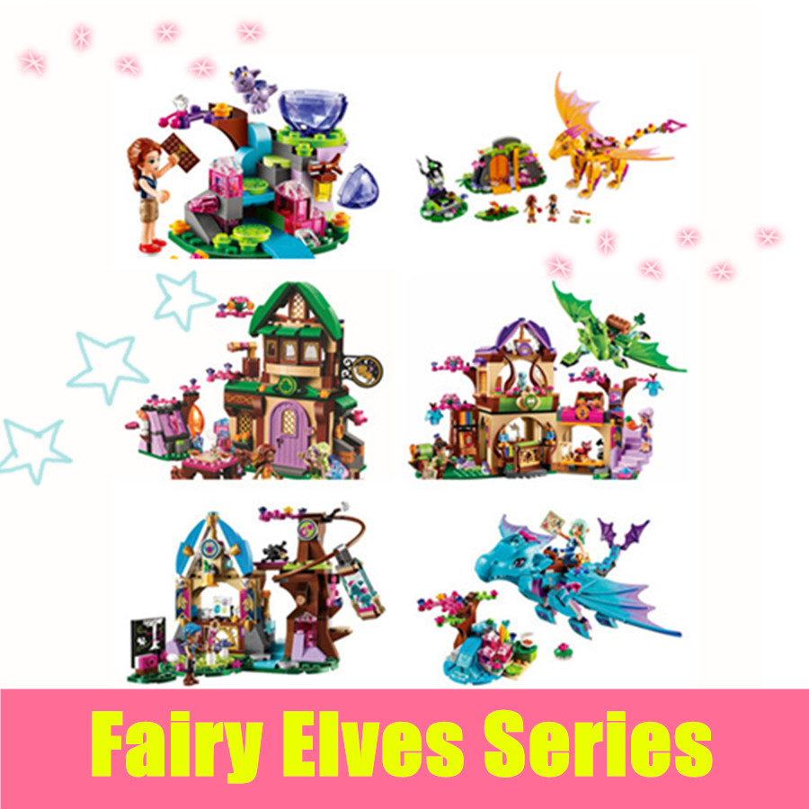 New Fairy Elves dragon Building blocks Kit Girl friends Bricks christmas Toys compatible legoes gift kid set girls birthday little white dragon assembling toys educational toys girl fantasy girls beach villa 423