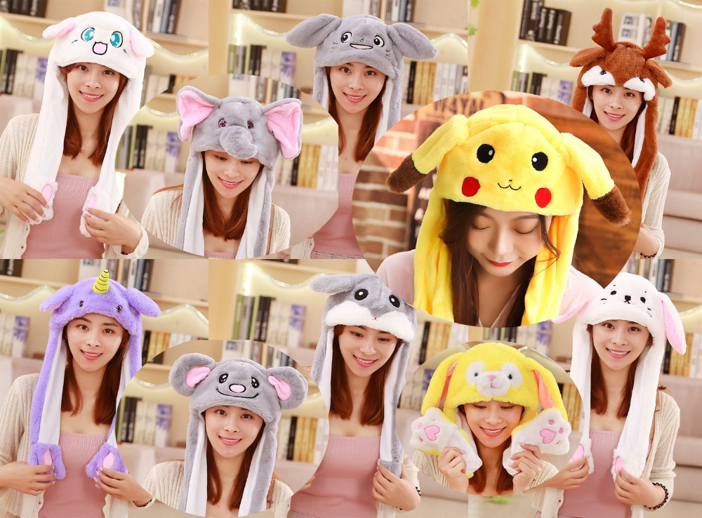 Toys & Hobbies Competent Animal Dumbo Pikachu Rabbit Unicorn Cat Ears Plush Airbag Cap Funny Cosplay Up Down Moving Ear Plush Toys Free Shipping Clothing & Accessories For Plush Stuff