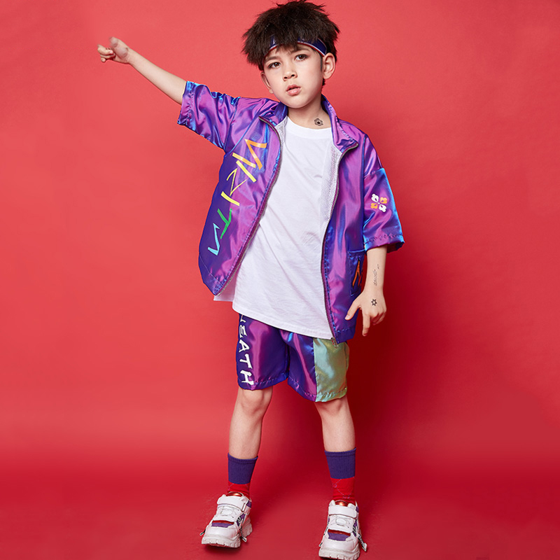 Kids Dance Costumes For Boys Hip Hop Costumes Purple Folk Pattern Children Street Dance Drumming Kids T Stage Costume BL1500