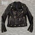 Черный натуральная кожа куртки женщины стад куртка мотоцикла офф-центр почтовый карман в юбке 100% Овчины пальто feminino croped LT273