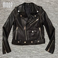 Black genuine leather jackets women stud motorcycle jacket off-center zip placket 100% Lambskin coats croped feminino LT273