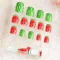 New Design 24 Pcs Bonito da Fruta Melancia 3D Unhas Postiças Autocolantes Falsos Pontas Das Unhas Decoração