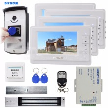Remote Control + 280kg Magnetic Lock + 7 inch Monitor Video Door Phone Intercom Doorbell 700 TV Line Camera RFID Keyfobs