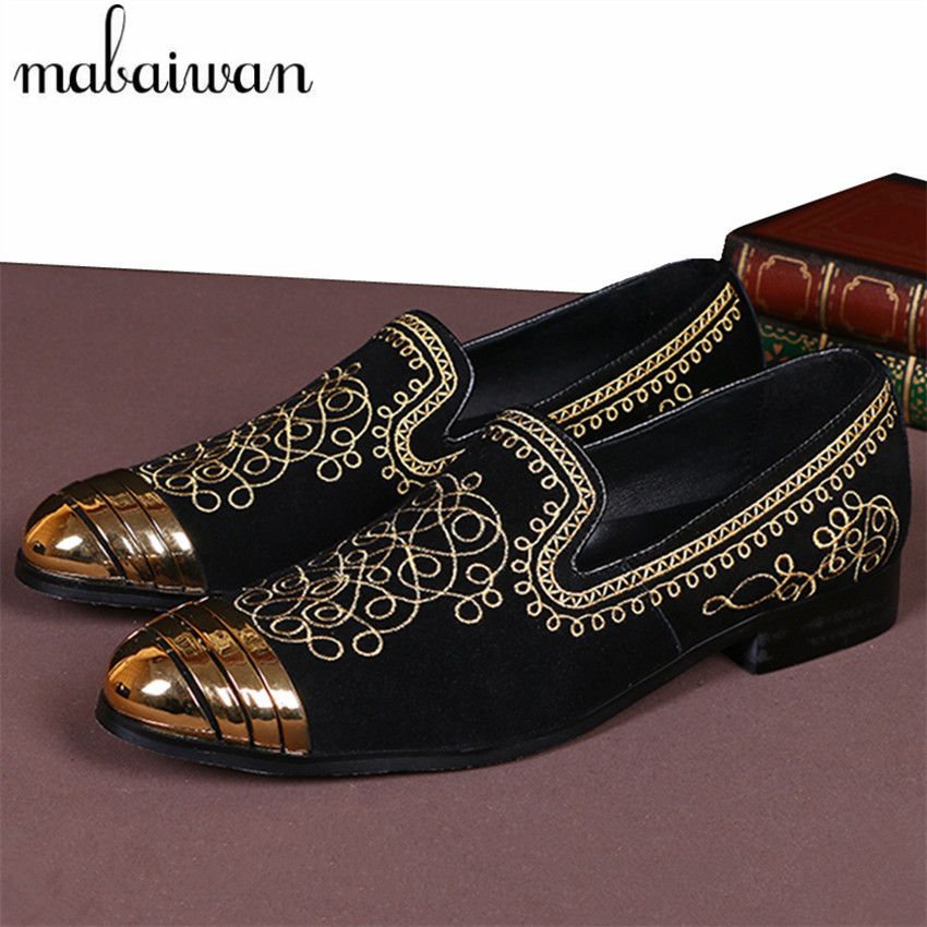 new fashion casual men flat shoes gold embroidery. Black Bedroom Furniture Sets. Home Design Ideas