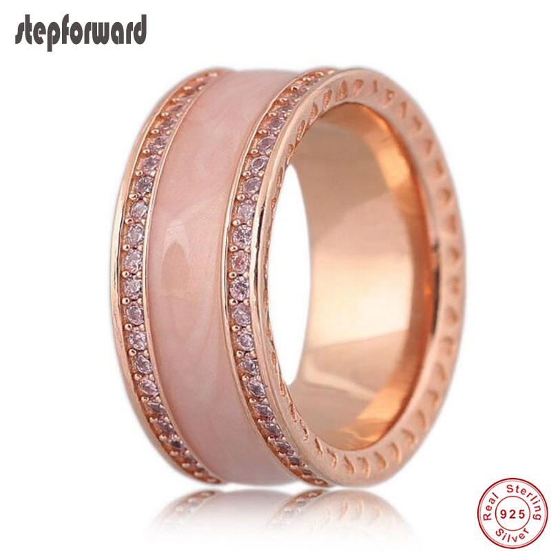 High Quality Classic Big And Wide Enamel Rose Gold 925 Sterling Silver Party Ring