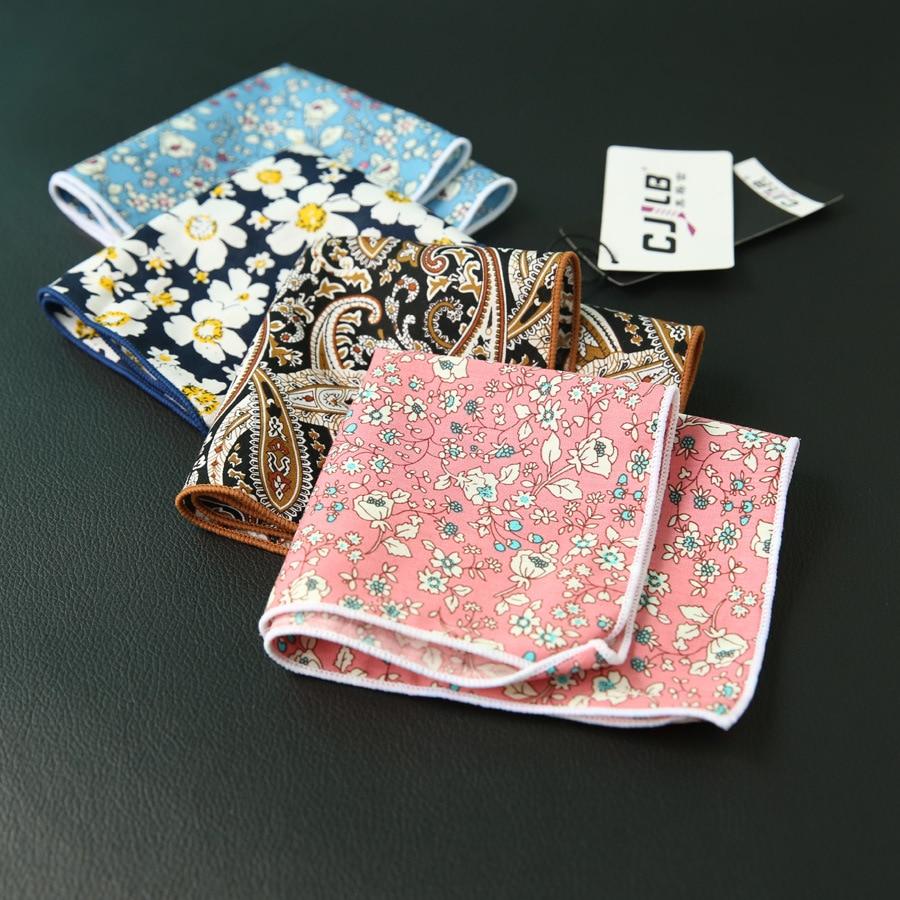 New Fashion Designer Men's Casual Print Floral Pocket Squares Handkerchief Cotton Hanky 24x24cm 30pcs/lot