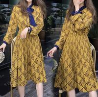 Women's Clothing 2018 Spring And Autumn Bow Long Sleeve Women Dresses Yellow Print Korean Dresses Plus Size XXXXXL Pleated Dress