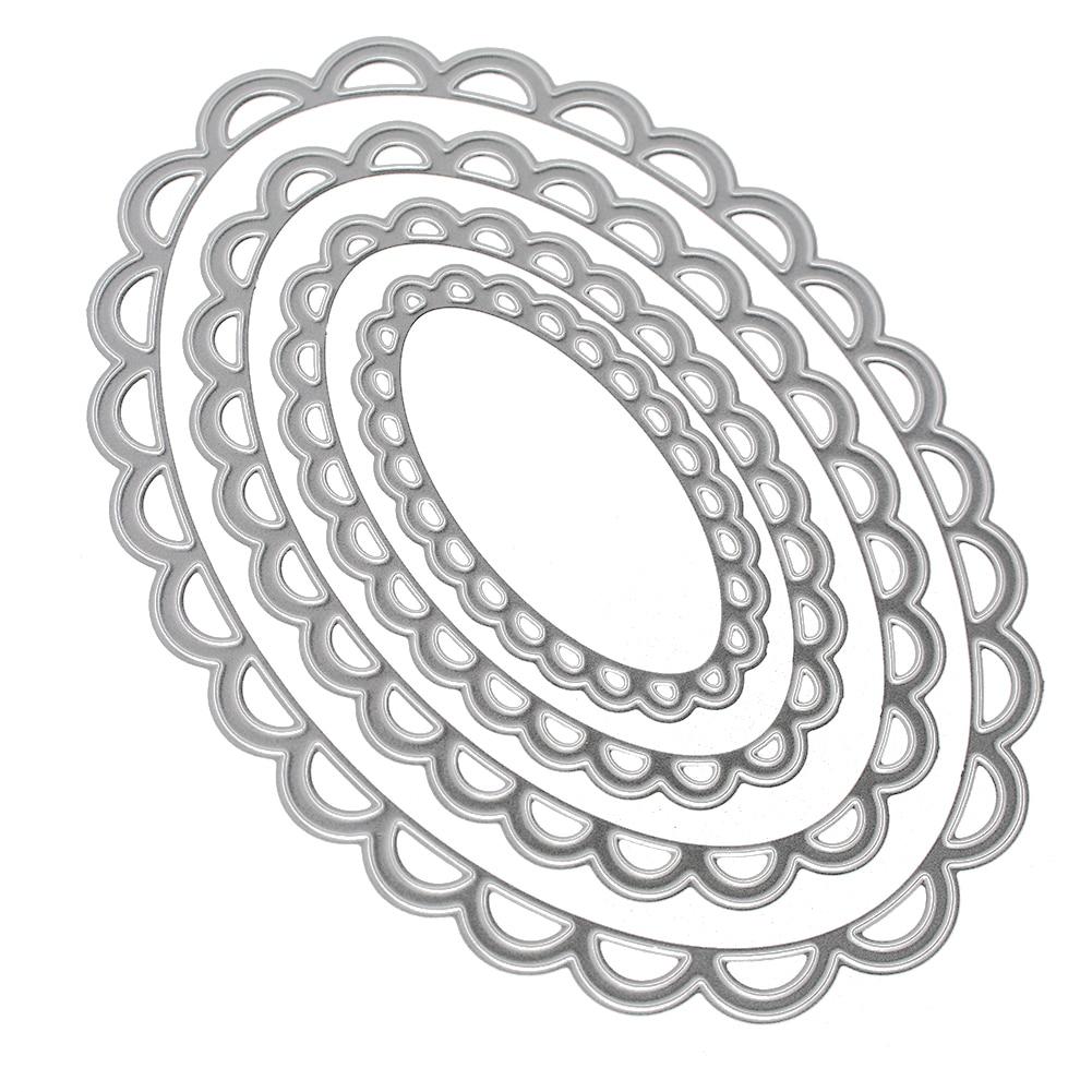4Pcs redondo con encaje de metal corte muere álbum de recortes de grabación en relieve Cardmaking Craft
