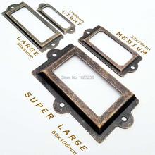 2/6 Uds Mini portaetiquetas de Metal grande tirador manija del marco soporte de Tarjeta De Nombre de archivo para muebles tirador de cajón de armario 4 tamaños 2 colores