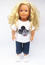 Free shipping Hot 2016 new style popular American girl dolls clothes T shirt jeans suit p69
