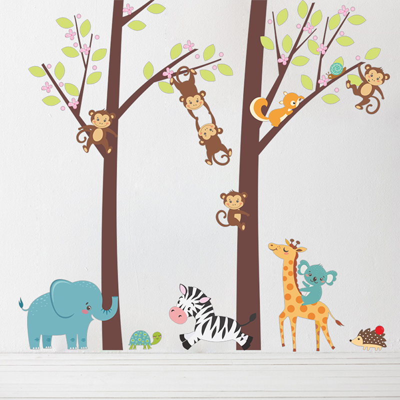 Monkey Elephant Giraffe Tree Wall Stickers For Kids Room Decor Cartoon Animals Forest Wall Decals DIY Mural Art PVC Home Posters