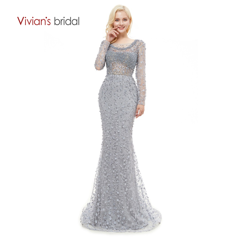 Vivian's Bridal 2018 Luxury Beading Lace Applique Women Evening Dress Long Sleeve Backless O-neck Sweep Train Formal Party Dress