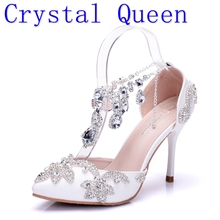 Crystal Queen Sandals Woman Wedding Shoes Bride High Heels Party Ladies Shoes Women Crystal Rhinestone Pointed Toe High Heels