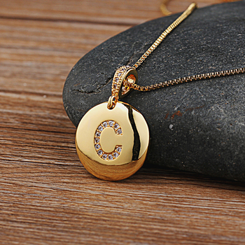 Top Quality Women Girls Initial Letter Necklace Gold 26 Letters Charm Necklaces Pendants Copper CZ Jewelry Personalized Necklace 3