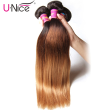 UNICE HAIR 3 pcs Weft Peruvian Straight Hair Color T1b/4/27