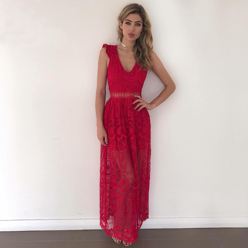7625ed1c60 US $25.99 |Red Lace Maxi Dresses Women Fashion Crochet Hollow Out  Sleeveless Open Back Elegant Evening Party Long Dress Slim Women Dresses-in  Dresses ...