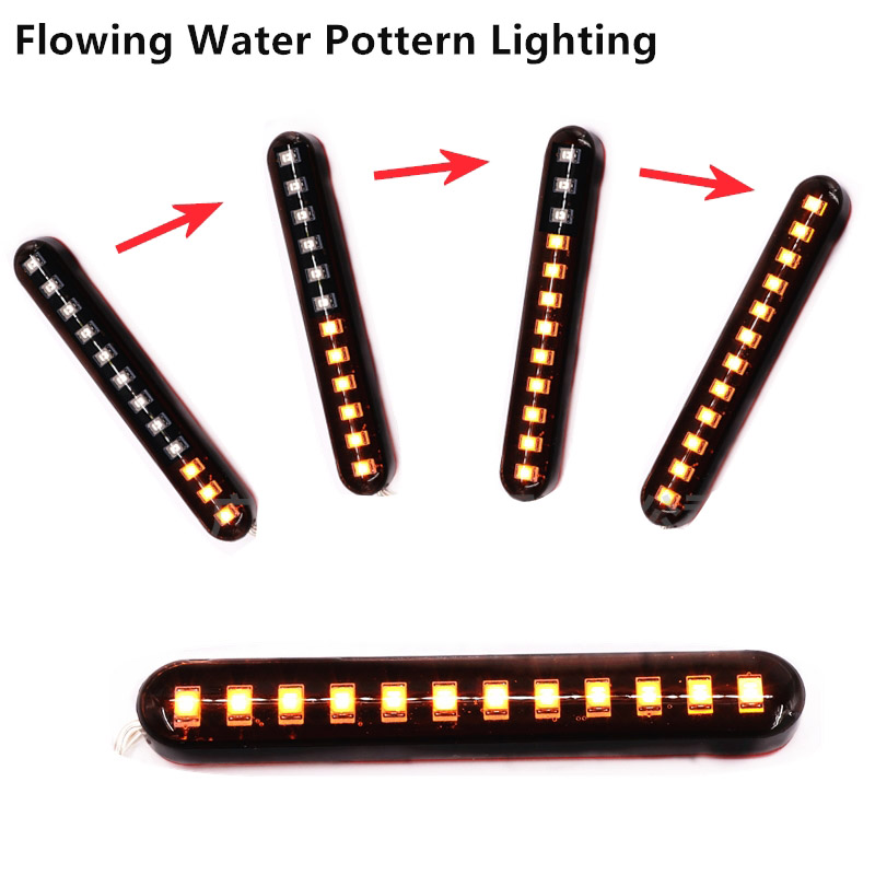 New 12 LED Flowing Water Strobe Strips Motorcycle Motorbike Tail Brake Stop License Number Plate Flash Warning Amber Rear Lights