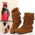 Koovan crianças botas 2017 crianças sapatos de inverno botas de franja tornozelo meninas mid-bezerro bota quente meninos de couro genuíno de neve botas