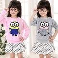 2016 primavera ropa de los niños de Corea del bebé de las muchachas sudadera tops minions cartoon ropa suéter con capucha sudaderas con capucha para niños