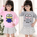 2016 spring children clothing Korean baby girls boys sweatshirt  tops minions cartoon clothes hooded sweater kids hoodies