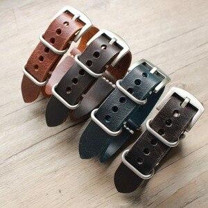 Ремешок для часов из натуральной кожи высокого качества, 20 мм, 22 мм, 24 мм, ремешок для часов Nato & Zulu, ремешок для часов ручной работы с черными з...