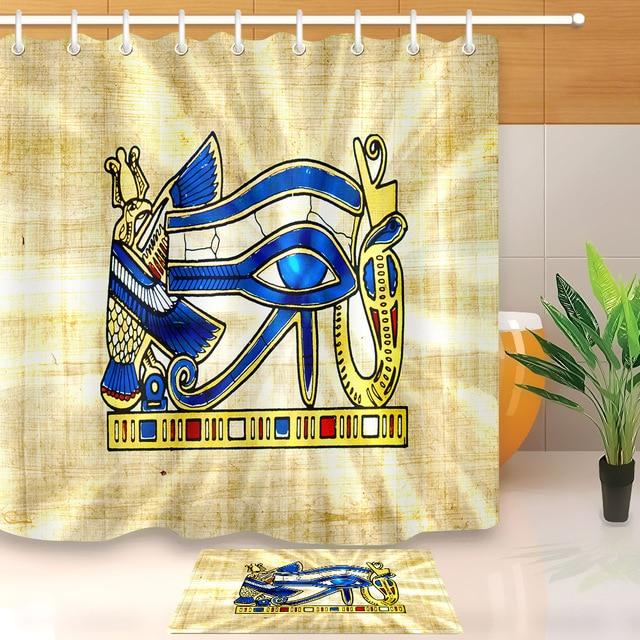 LB Horus Anubis Ancient Egyptian Myths Mural Pharaoh Wall Exotic Shower Curtain Set Liner Bathroom Fabric