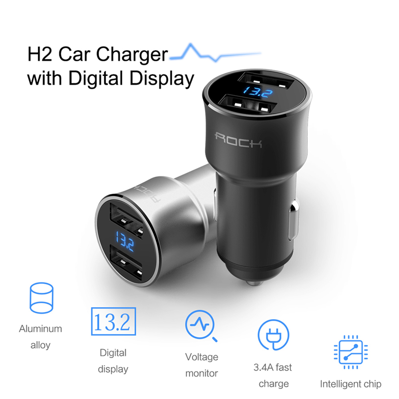 Honey H2 Dual Usb Car Charger With Digital Led Display 5v/3.4a Aluminium Alloy Fast Charging Voltage Monitoring For Iphone Samsung Curing Cough And Facilitating Expectoration And Relieving Hoarseness Accessories & Parts